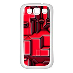 Background With Red Texture Blocks Samsung Galaxy S3 Back Case (white) by Amaryn4rt