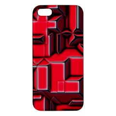 Background With Red Texture Blocks Iphone 5s/ Se Premium Hardshell Case by Amaryn4rt