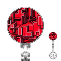 Background With Red Texture Blocks Stainless Steel Nurses Watch by Amaryn4rt