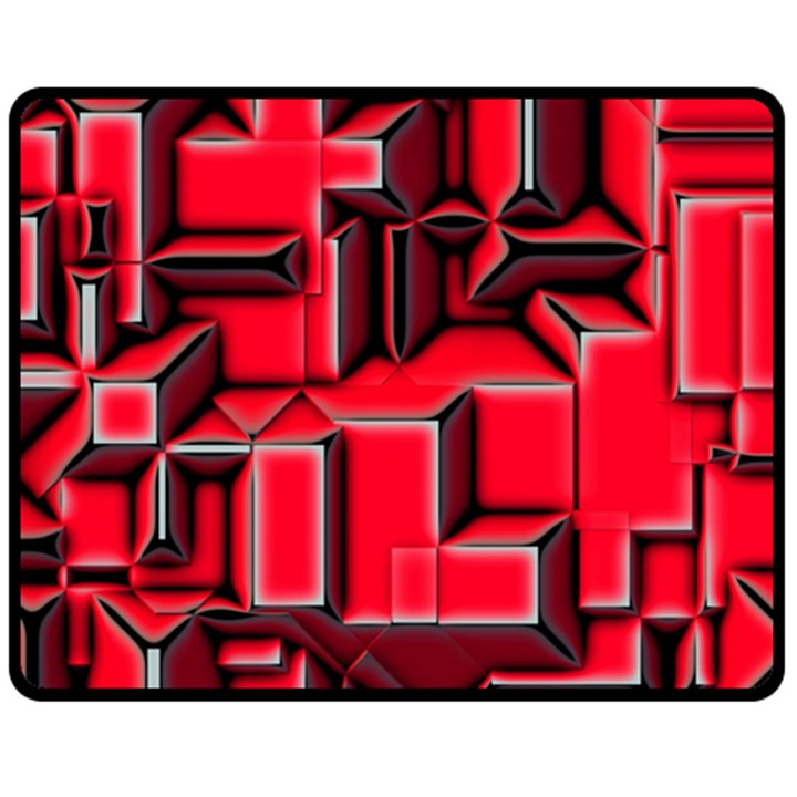 Background With Red Texture Blocks Double Sided Fleece Blanket (Medium)