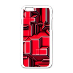 Background With Red Texture Blocks Apple Iphone 6/6s White Enamel Case by Amaryn4rt