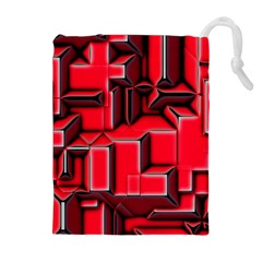 Background With Red Texture Blocks Drawstring Pouches (extra Large) by Amaryn4rt