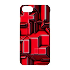 Background With Red Texture Blocks Apple Iphone 7 Hardshell Case by Amaryn4rt