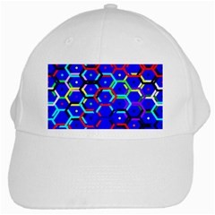 Blue Bee Hive Pattern White Cap by Amaryn4rt