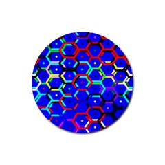 Blue Bee Hive Pattern Rubber Coaster (round)  by Amaryn4rt