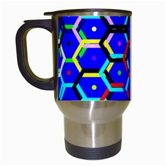 Blue Bee Hive Pattern Travel Mugs (white) by Amaryn4rt