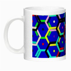 Blue Bee Hive Pattern Night Luminous Mugs by Amaryn4rt