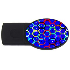 Blue Bee Hive Pattern Usb Flash Drive Oval (4 Gb) by Amaryn4rt