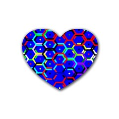 Blue Bee Hive Pattern Heart Coaster (4 Pack)  by Amaryn4rt