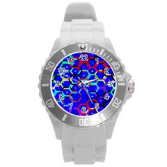 Blue Bee Hive Pattern Round Plastic Sport Watch (l) by Amaryn4rt