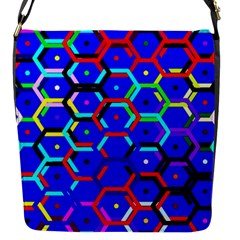 Blue Bee Hive Pattern Flap Messenger Bag (s) by Amaryn4rt