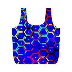 Blue Bee Hive Pattern Full Print Recycle Bags (m)  by Amaryn4rt