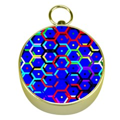 Blue Bee Hive Pattern Gold Compasses by Amaryn4rt
