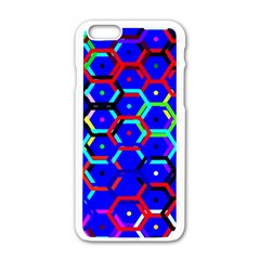 Blue Bee Hive Pattern Apple Iphone 6/6s White Enamel Case by Amaryn4rt