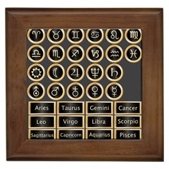 Black And Gold Buttons And Bars Depicting The Signs Of The Astrology Symbols Framed Tiles by Amaryn4rt