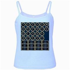 Black And Gold Buttons And Bars Depicting The Signs Of The Astrology Symbols Baby Blue Spaghetti Tank by Amaryn4rt