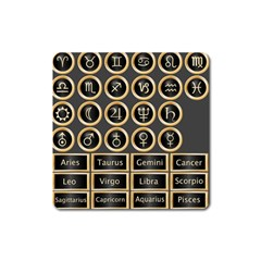 Black And Gold Buttons And Bars Depicting The Signs Of The Astrology Symbols Square Magnet by Amaryn4rt