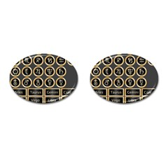 Black And Gold Buttons And Bars Depicting The Signs Of The Astrology Symbols Cufflinks (oval) by Amaryn4rt