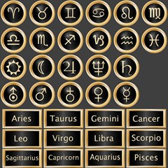 Black And Gold Buttons And Bars Depicting The Signs Of The Astrology Symbols Canvas 12  X 12   by Amaryn4rt