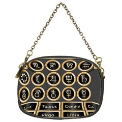 Black And Gold Buttons And Bars Depicting The Signs Of The Astrology Symbols Chain Purses (one Side)  by Amaryn4rt