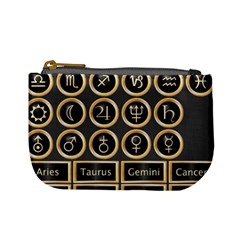 Black And Gold Buttons And Bars Depicting The Signs Of The Astrology Symbols Mini Coin Purses by Amaryn4rt