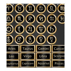 Black And Gold Buttons And Bars Depicting The Signs Of The Astrology Symbols Shower Curtain 66  X 72  (large)  by Amaryn4rt