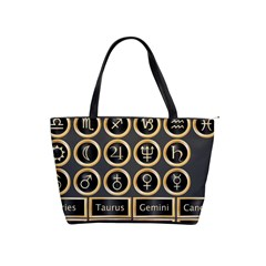Black And Gold Buttons And Bars Depicting The Signs Of The Astrology Symbols Shoulder Handbags by Amaryn4rt