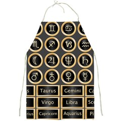 Black And Gold Buttons And Bars Depicting The Signs Of The Astrology Symbols Full Print Aprons by Amaryn4rt