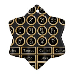 Black And Gold Buttons And Bars Depicting The Signs Of The Astrology Symbols Snowflake Ornament (two Sides) by Amaryn4rt