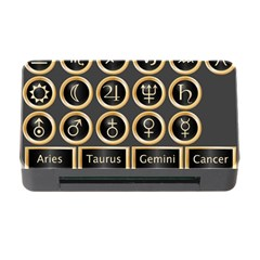 Black And Gold Buttons And Bars Depicting The Signs Of The Astrology Symbols Memory Card Reader With Cf by Amaryn4rt
