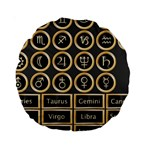 Black And Gold Buttons And Bars Depicting The Signs Of The Astrology Symbols Standard 15  Premium Round Cushions Front