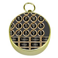 Black And Gold Buttons And Bars Depicting The Signs Of The Astrology Symbols Gold Compasses