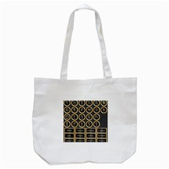 Black And Gold Buttons And Bars Depicting The Signs Of The Astrology Symbols Tote Bag (white) by Amaryn4rt