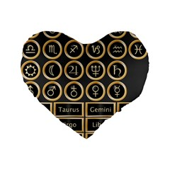Black And Gold Buttons And Bars Depicting The Signs Of The Astrology Symbols Standard 16  Premium Flano Heart Shape Cushions by Amaryn4rt