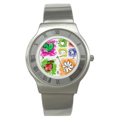 A Set Of Watercolour Icons Stainless Steel Watch by Amaryn4rt
