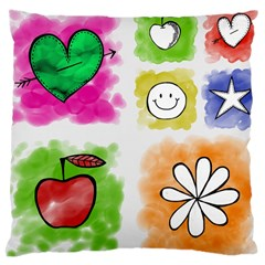 A Set Of Watercolour Icons Large Cushion Case (one Side)