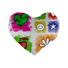 A Set Of Watercolour Icons Standard 16  Premium Flano Heart Shape Cushions