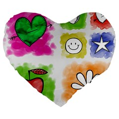 A Set Of Watercolour Icons Large 19  Premium Flano Heart Shape Cushions by Amaryn4rt