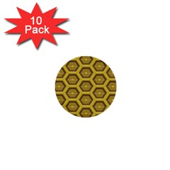 Golden 3d Hexagon Background 1  Mini Buttons (10 Pack)