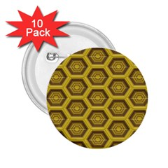 Golden 3d Hexagon Background 2 25  Buttons (10 Pack)  by Amaryn4rt