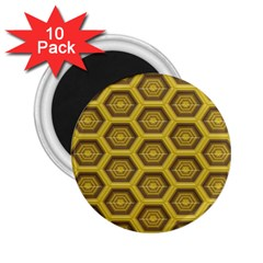 Golden 3d Hexagon Background 2 25  Magnets (10 Pack)  by Amaryn4rt