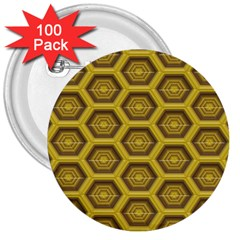 Golden 3d Hexagon Background 3  Buttons (100 Pack)  by Amaryn4rt