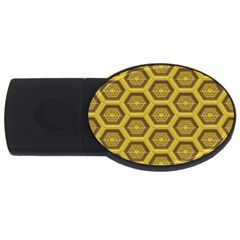 Golden 3d Hexagon Background Usb Flash Drive Oval (2 Gb) by Amaryn4rt