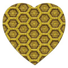Golden 3d Hexagon Background Jigsaw Puzzle (heart) by Amaryn4rt