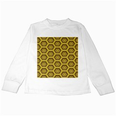 Golden 3d Hexagon Background Kids Long Sleeve T Shirts by Amaryn4rt