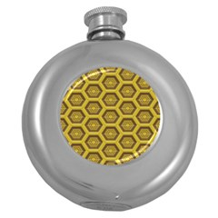 Golden 3d Hexagon Background Round Hip Flask (5 Oz) by Amaryn4rt