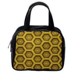 Golden 3d Hexagon Background Classic Handbags (one Side) by Amaryn4rt