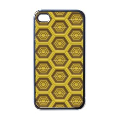 Golden 3d Hexagon Background Apple Iphone 4 Case (black) by Amaryn4rt