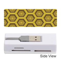 Golden 3d Hexagon Background Memory Card Reader (stick)  by Amaryn4rt