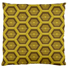 Golden 3d Hexagon Background Large Cushion Case (one Side) by Amaryn4rt